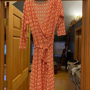 Faux wrap dress in coral colors